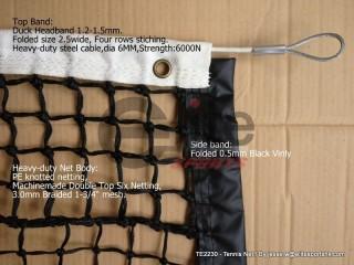 TN2230-Tennis Net,3.0mm Braided Netting,Double