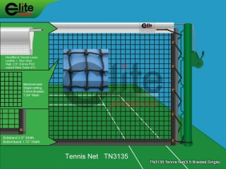 TN3135-Tennis Net,3.5mm Braided Netting,Leather headband,Single