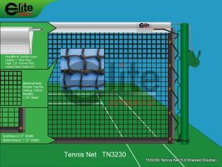 TN3230-Tennis Net,3.0mm Braided Netting,Leather headband,Double